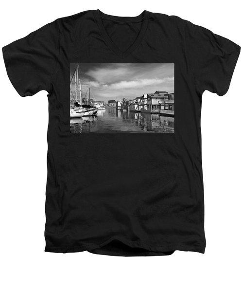 Veiw Of Marina In Victoria British Columbia Black And White Men's V-Neck T-Shirt