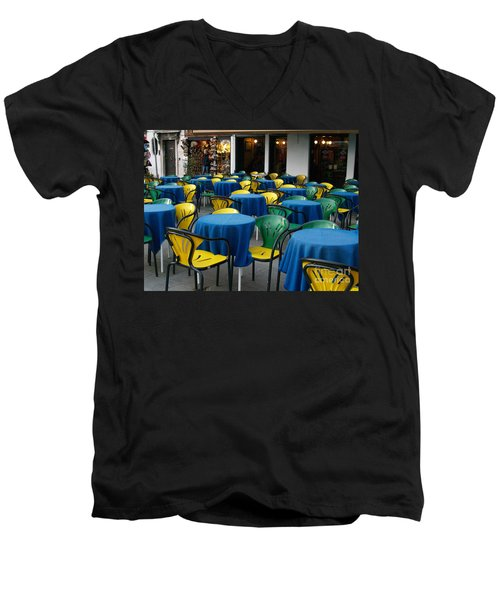 Men's V-Neck T-Shirt featuring the photograph Venetian Cafe by Robin Maria Pedrero