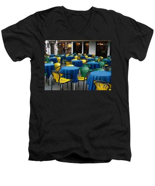 Venetian Cafe Men's V-Neck T-Shirt by Robin Maria Pedrero