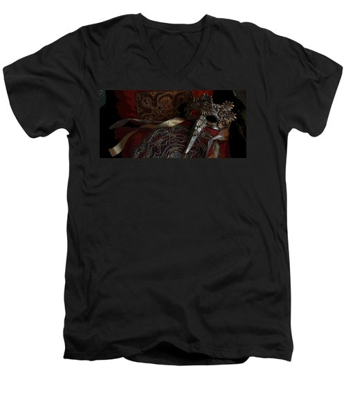After The Carnival - Venetian Mask Men's V-Neck T-Shirt by Yvonne Wright