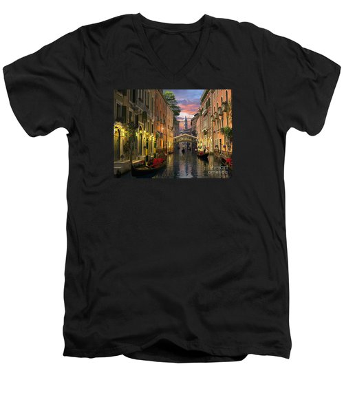 Venice At Dusk Men's V-Neck T-Shirt by Dominic Davison