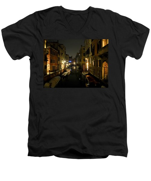 Venice At Night Men's V-Neck T-Shirt by Silvia Bruno