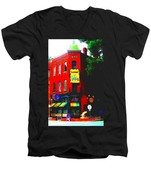 Venice Cafe' Painted And Edited Men's V-Neck T-Shirt