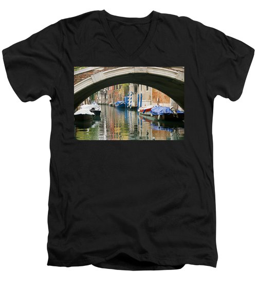 Venice Canal Boat Men's V-Neck T-Shirt by Silvia Bruno