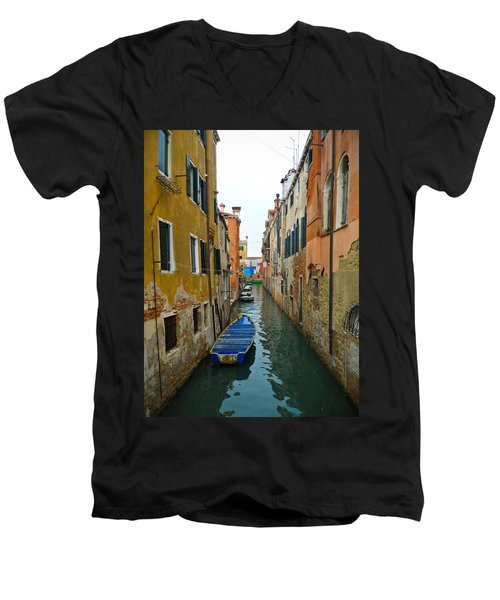 Venice Canal Men's V-Neck T-Shirt by Silvia Bruno