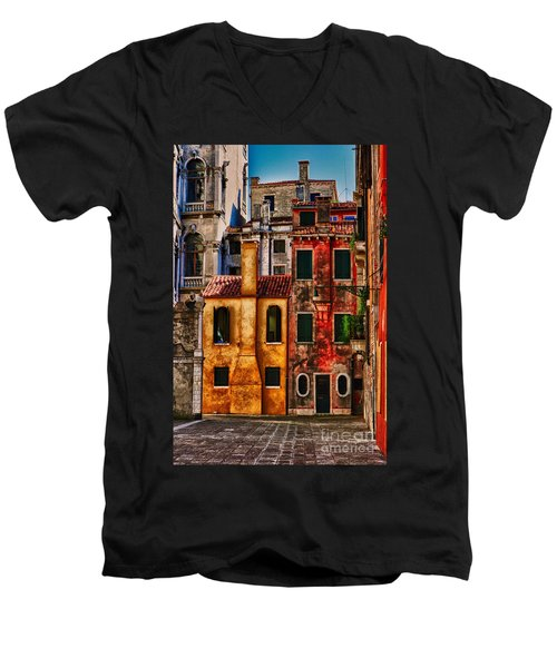 Men's V-Neck T-Shirt featuring the photograph Venice Homes by Jerry Fornarotto