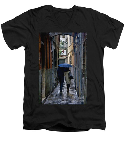 Venice In The Rain Men's V-Neck T-Shirt