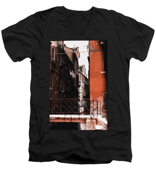 Men's V-Neck T-Shirt featuring the photograph A Chapter In Venice by Ira Shander