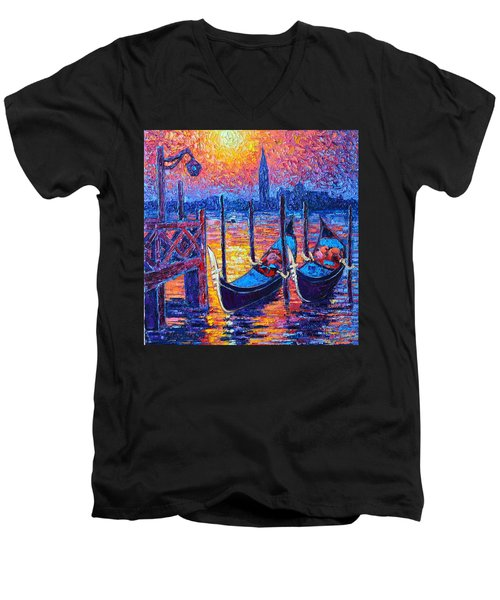Venice Mysterious Light - Gondolas And San Giorgio Maggiore Seen From Plaza San Marco Men's V-Neck T-Shirt by Ana Maria Edulescu