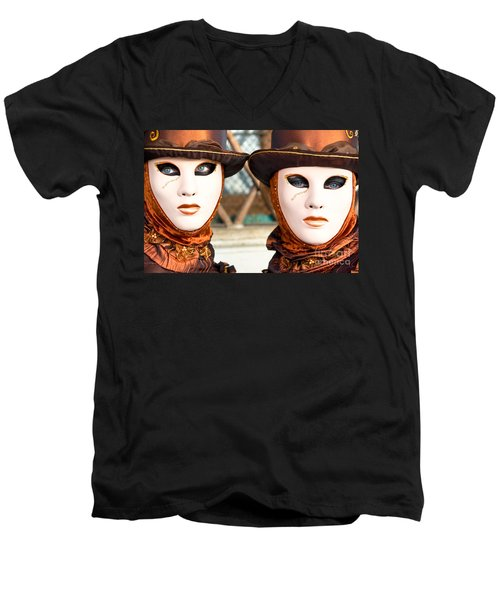 Venice Masks - Carnival. Men's V-Neck T-Shirt by Luciano Mortula