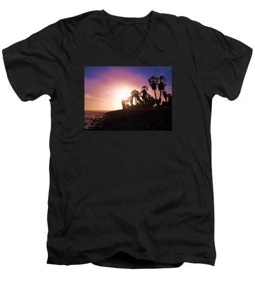 Men's V-Neck T-Shirt featuring the photograph Ventura Beach Sunset by Mary Ellen Frazee
