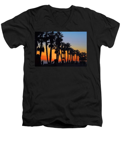 Men's V-Neck T-Shirt featuring the photograph Ventura Boardwalk Silhouettes by Lynn Bauer