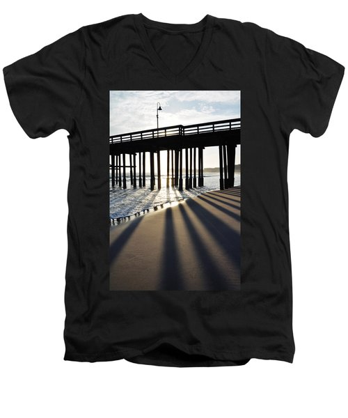 Men's V-Neck T-Shirt featuring the photograph Ventura Pier Shadows by Kyle Hanson