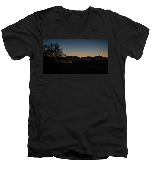 Men's V-Neck T-Shirt featuring the photograph Venus And A Young Moon Over Tucson by Dan McManus