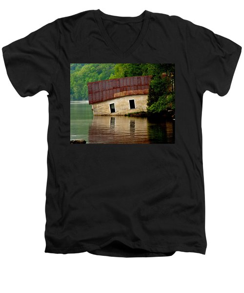Men's V-Neck T-Shirt featuring the photograph Vermont Boathouse by John Haldane