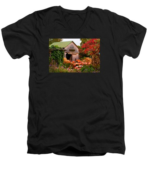 Men's V-Neck T-Shirt featuring the photograph Vermont Pumpkins And Autumn Flowers by Jeff Folger