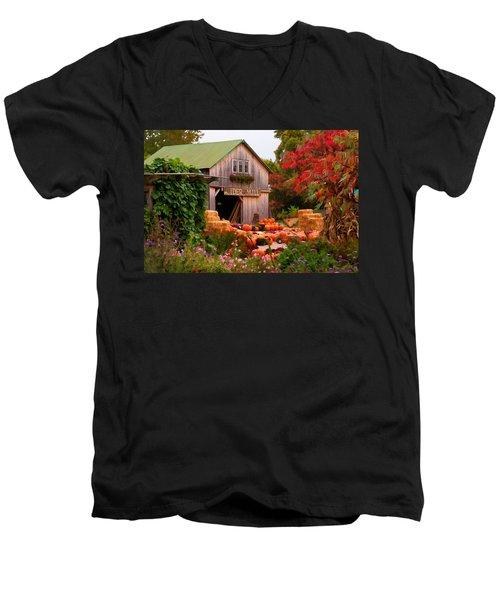 Vermont Pumpkins And Autumn Flowers Men's V-Neck T-Shirt