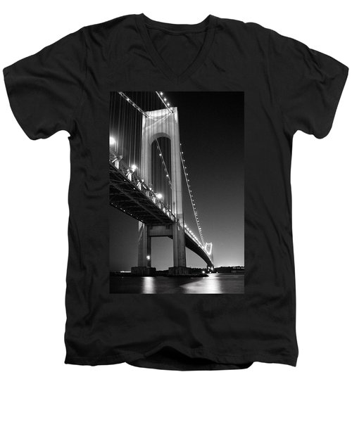 Men's V-Neck T-Shirt featuring the photograph Verrazano Bridge At Night - Black And White by Gary Heller