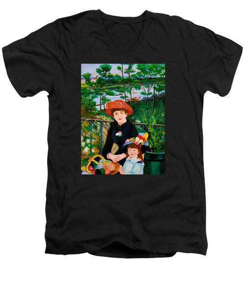 Men's V-Neck T-Shirt featuring the painting Version Of Renoir's Two Sisters On The Terrace by Cyril Maza