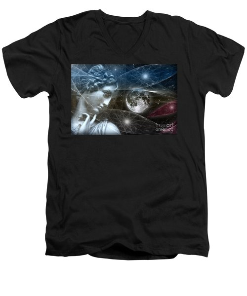 Men's V-Neck T-Shirt featuring the digital art Vestal Moon by Rosa Cobos