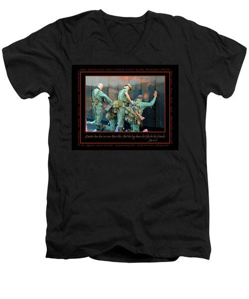 Veterans At Vietnam Wall Men's V-Neck T-Shirt