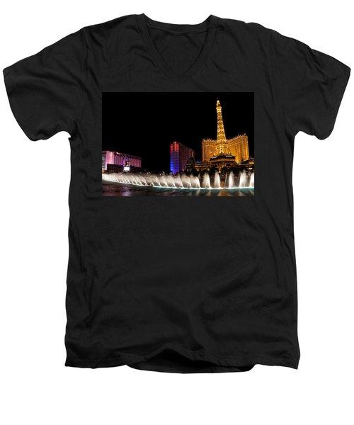 Vibrant Las Vegas - Bellagio's Fountains Paris Bally's And Flamingo Men's V-Neck T-Shirt