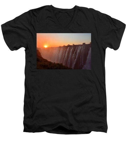 Victoria Falls At Sunset Men's V-Neck T-Shirt by Jeff at JSJ Photography