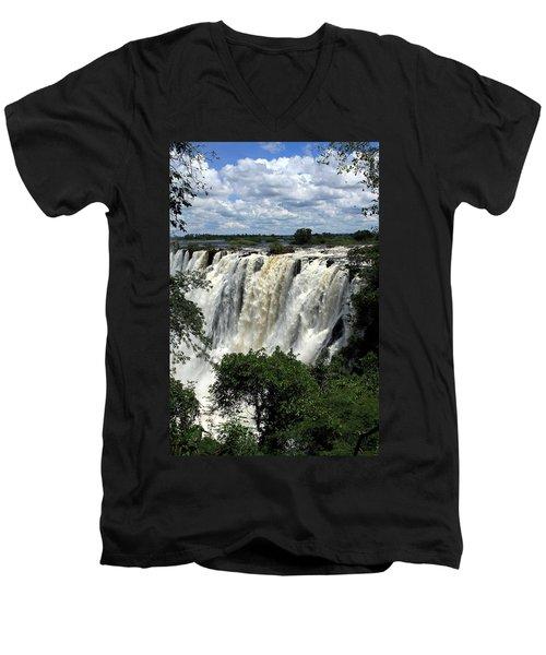 Victoria Falls On The Zambezi River Men's V-Neck T-Shirt
