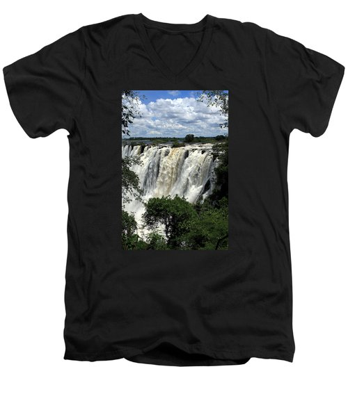 Victoria Falls On The Zambezi River Men's V-Neck T-Shirt