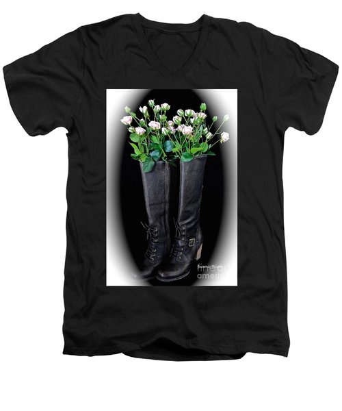 Victorian Black Boots Men's V-Neck T-Shirt