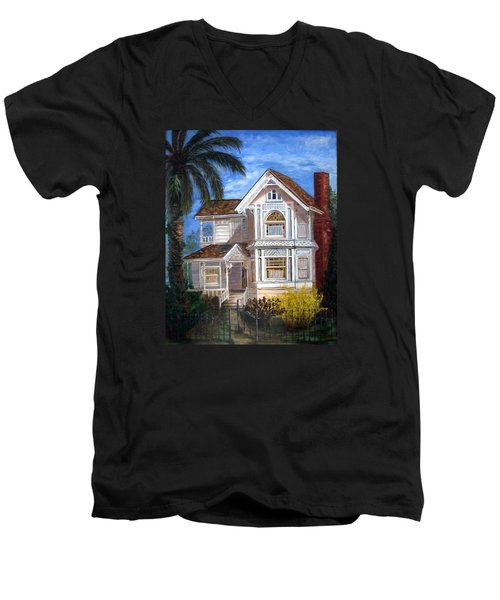 Victorian House Men's V-Neck T-Shirt by LaVonne Hand