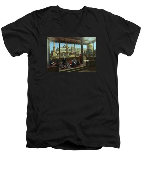 Men's V-Neck T-Shirt featuring the painting View From Egypt by Laila Awad Jamaleldin