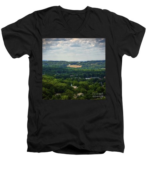 Men's V-Neck T-Shirt featuring the photograph View From Goat Hill by Debra Fedchin