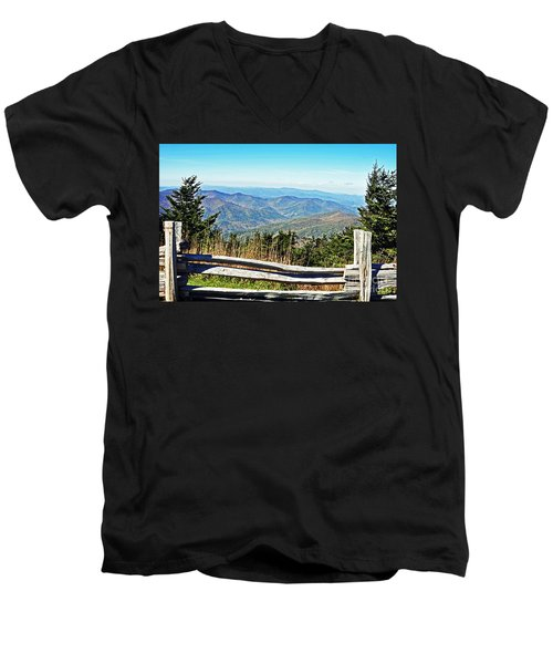 View From Mt. Mitchell Summit Men's V-Neck T-Shirt by Lydia Holly