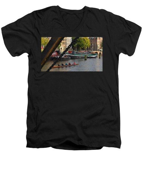 'skinny Bridge' Amsterdam Men's V-Neck T-Shirt by Cheryl Miller