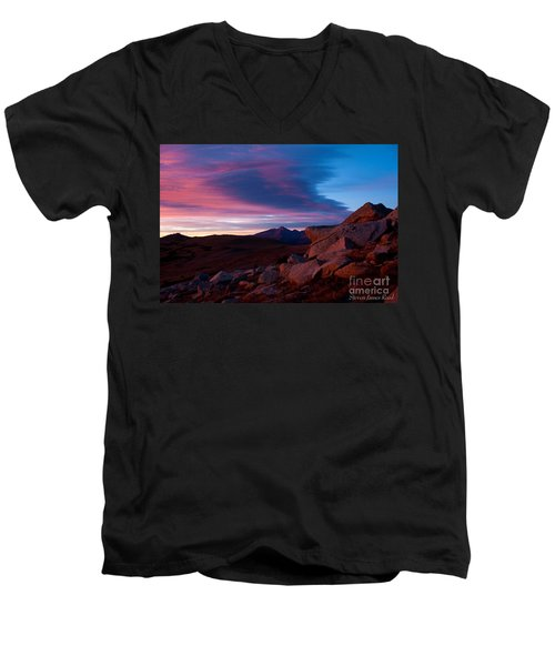 View To Long's Peak Men's V-Neck T-Shirt by Steven Reed