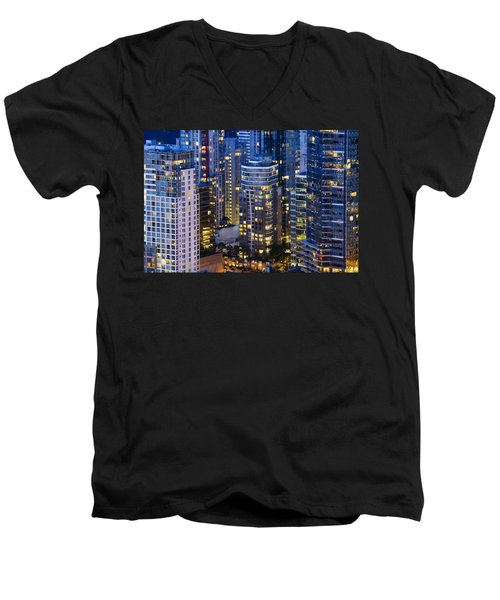 View Towards Coal Harbor Vancouver Mdxxvii  Men's V-Neck T-Shirt by Amyn Nasser