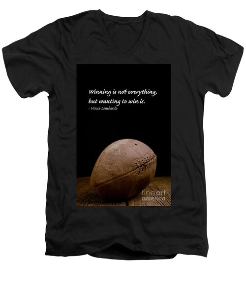 Men's V-Neck T-Shirt featuring the photograph Vince Lombardi On Winning by Edward Fielding