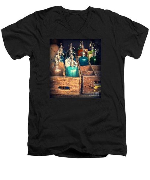 Vintage Antique Seltzer Bottles Men's V-Neck T-Shirt by Miriam Danar