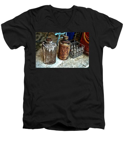 Men's V-Neck T-Shirt featuring the photograph Hdr Vintage Art  Cans And Bottles by Lesa Fine