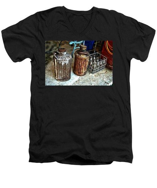Hdr Vintage Art  Cans And Bottles Men's V-Neck T-Shirt