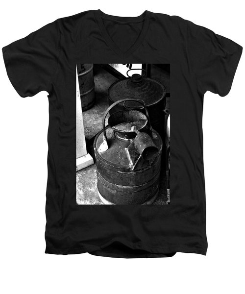 Men's V-Neck T-Shirt featuring the photograph Vintage B/w Galvanized Container by Lesa Fine