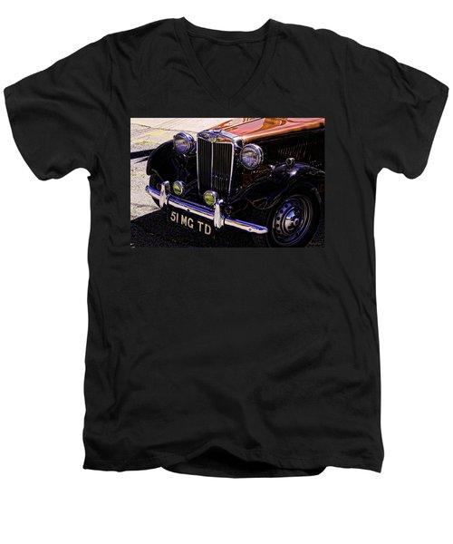 Vintage Car Art 51 Mg Td Copper Men's V-Neck T-Shirt