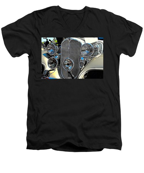 Vintage Car Art Buick Grill And Headlight Hdr Men's V-Neck T-Shirt