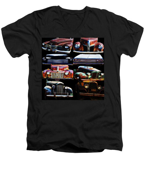 Vintage Cars Collage 2 Men's V-Neck T-Shirt by Cathy Anderson