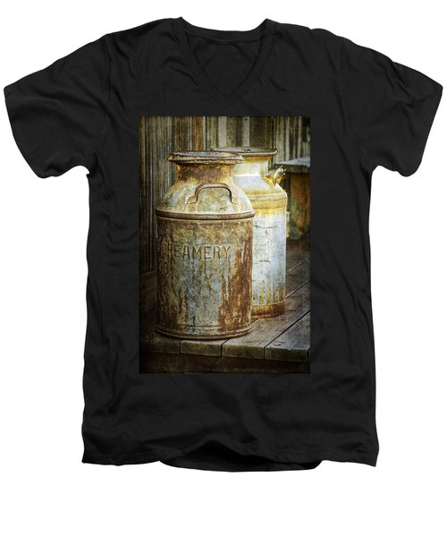 Vintage Creamery Cans In 1880 Town In South Dakota Men's V-Neck T-Shirt