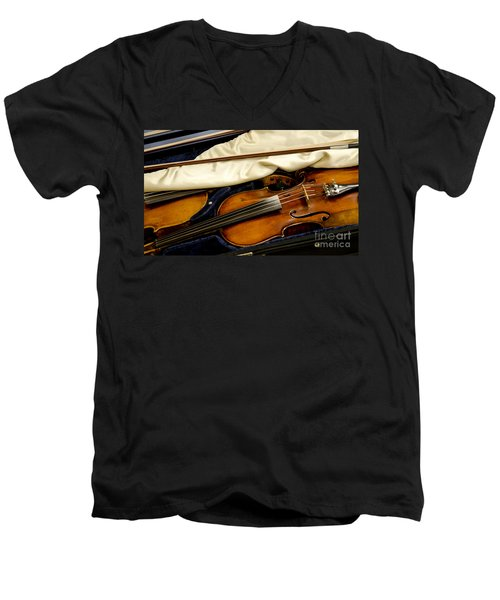 Vintage Fiddle In The Case Men's V-Neck T-Shirt by Wilma  Birdwell