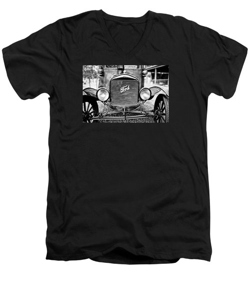 Vintage Ford In Black And White Men's V-Neck T-Shirt by Colleen Kammerer