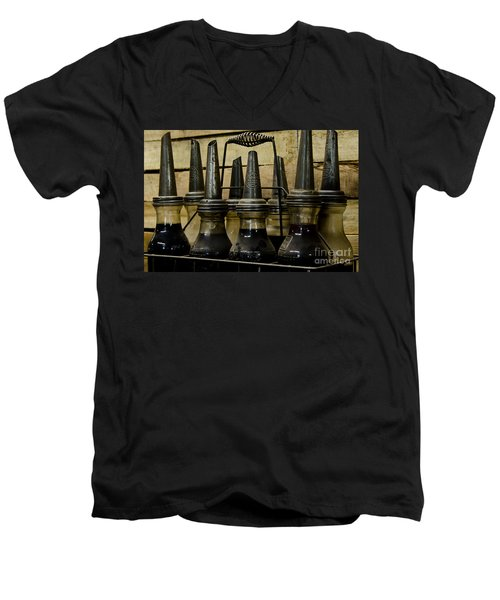 Men's V-Neck T-Shirt featuring the photograph Vintage Glass  Motor Oil Bottles by Wilma  Birdwell