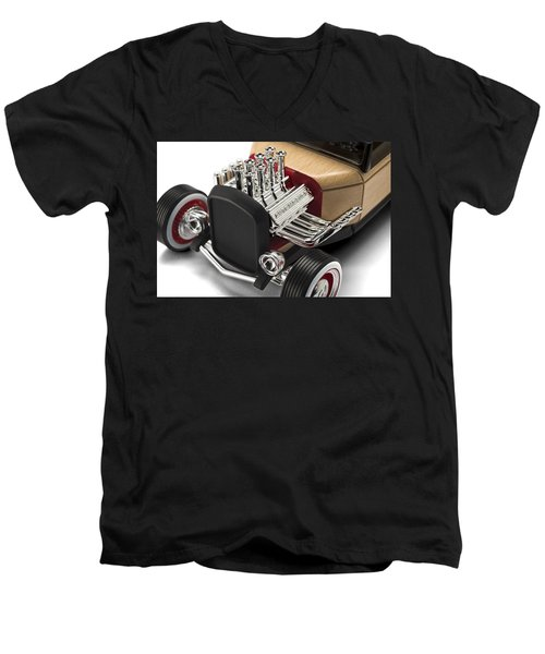 Men's V-Neck T-Shirt featuring the photograph Vintage Hot Rod Engine by Gianfranco Weiss